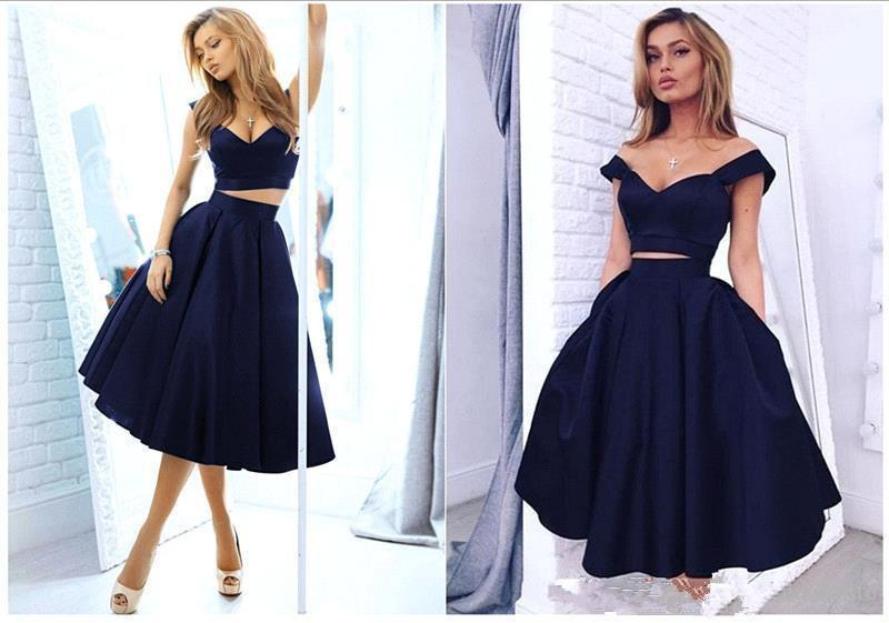 2016 Puffy Navy Blue Two Piece Prom Dresses Cap Sleeves Knee Length ...