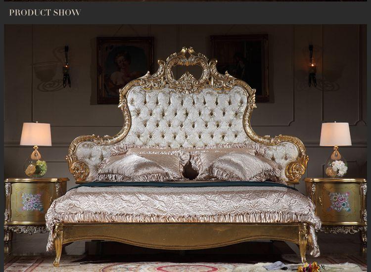 Acheter Lit De Luxe Italien Mobilier De Chambre A Coucher Antique Mobilier Sculpte En Bois Massif Dore A La Feuille D Or De 3600 0 Du Fpfurniturecn