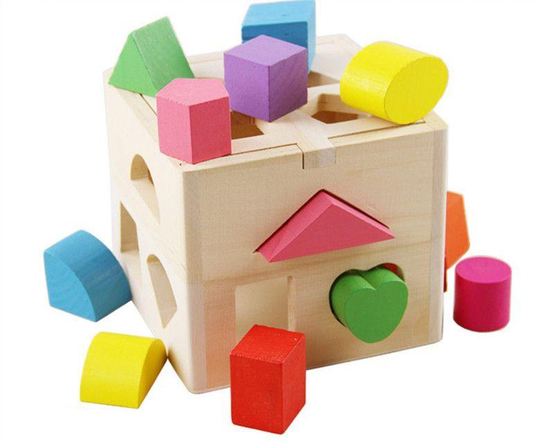 juguetes para bebs forma cubo clsico juguetes de madera educativos para nios inteligente toy geometry box regalo de cumpleaos