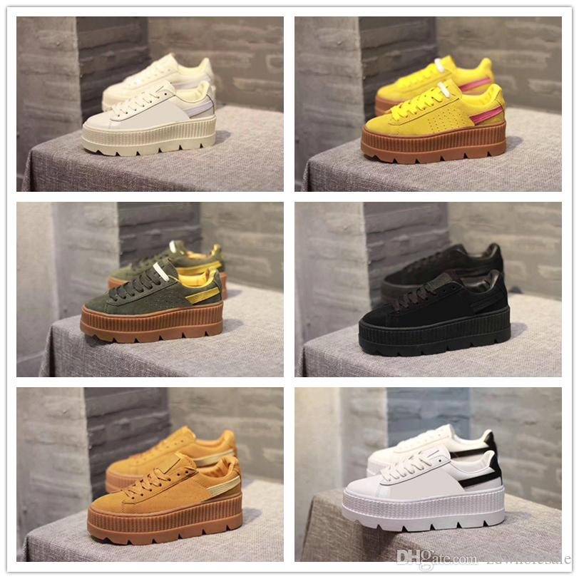 new product 2c946 14fe8 Cheap With Box 2017 Fenty Suede Cleated Creeper Womens Black Green Yellow  White Fenty Creepers By Rihanna Shoes Wholesale Drop Shipping Sneakers ...