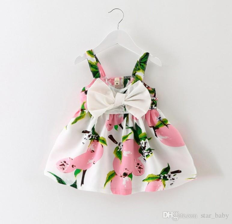 Summer Baby Dress Girls Sleeveless Printed Dresses Suspernder Princess Dress Kids Clothes Children Beach Wear Lemon Fashion 5 Colors 9261