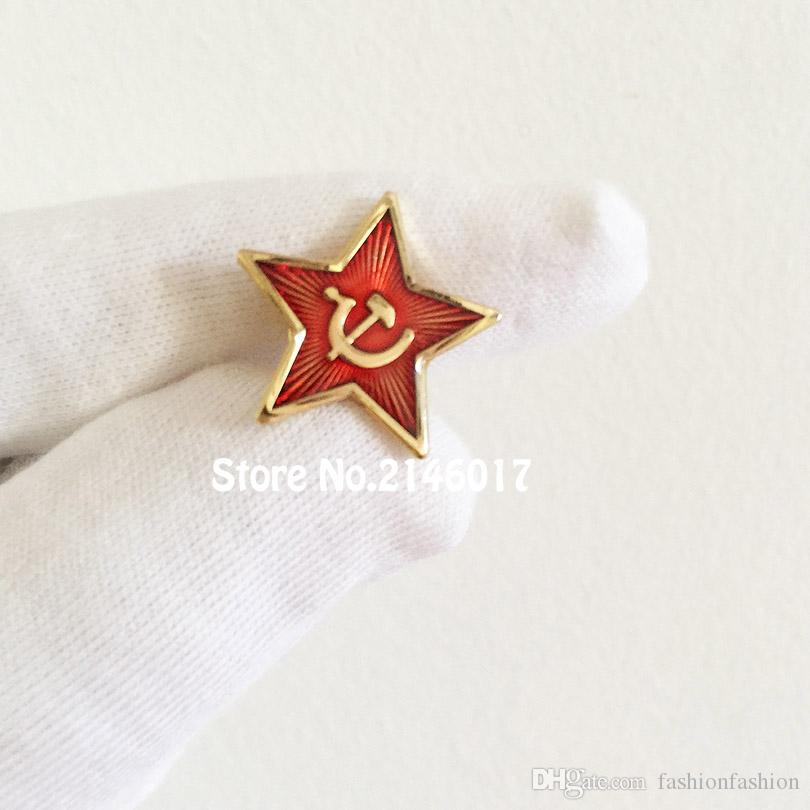 50 stücke Benutzerdefinierte Pin Russland Roten Stern Hammer Sichel Logo Anstecknadeln Brosche Kommunismus Sowjetunion UdSSR Pin Kalten Krieges Souvenir Abzeichen 20mm