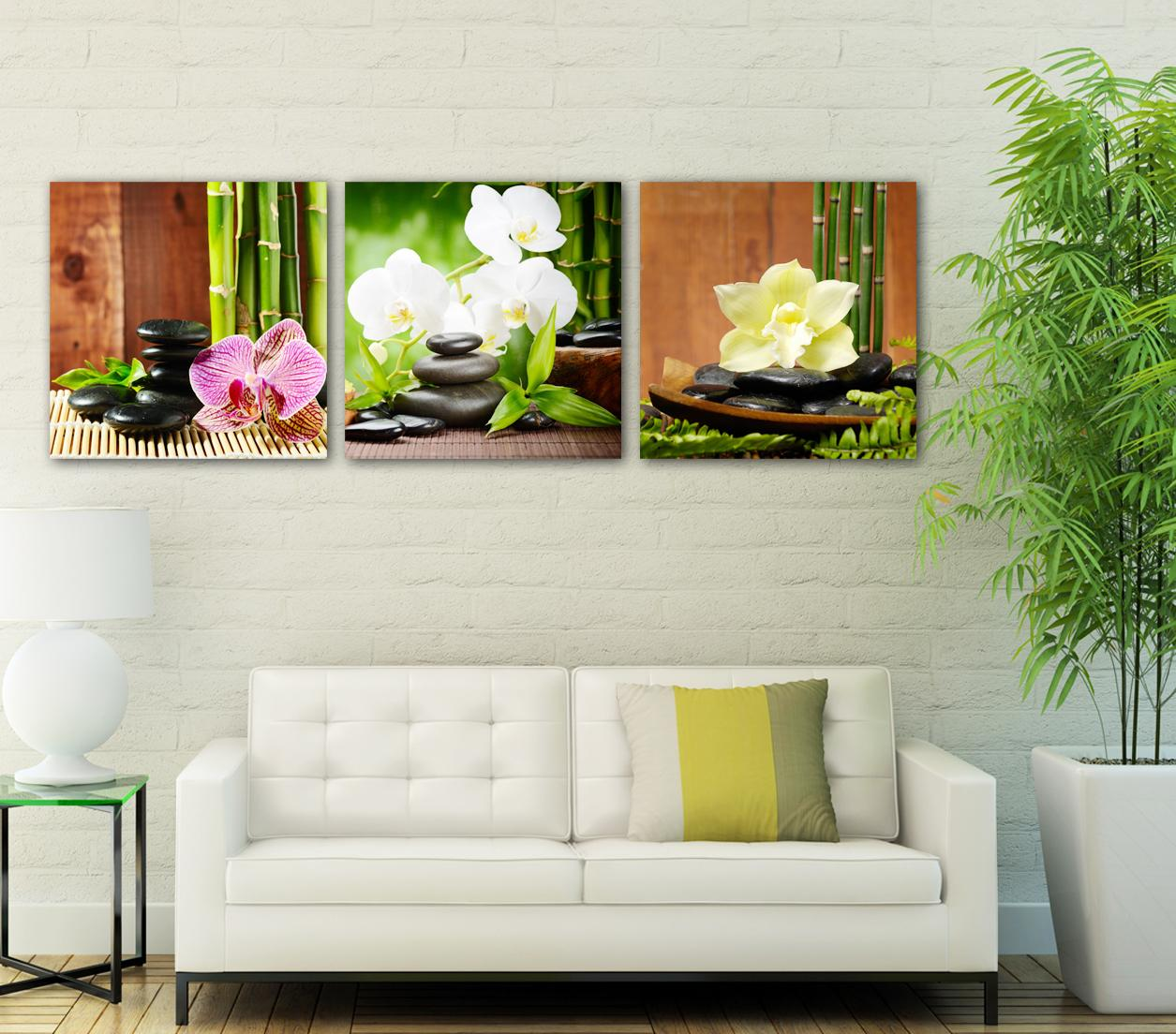 Free shipping 3 Pieces unframed Canvas Prints Apple Grape strawberry ice block butterfly castle Bamboo orchid tree grassland potted flower