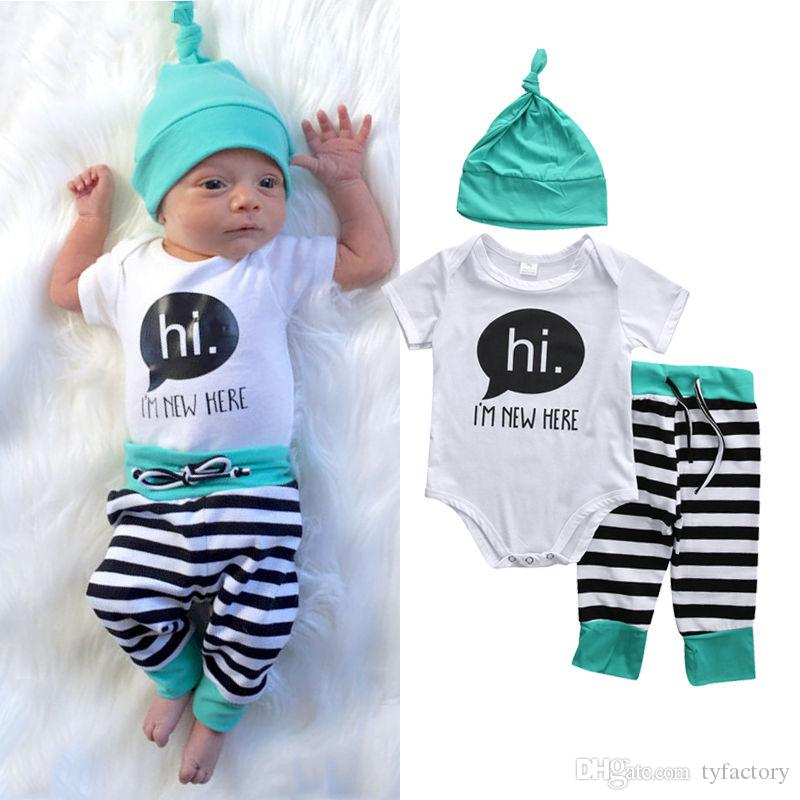 2018 winther autumn baby sets 3PCS cotton Newborn kids Boys Girls HI ,I'M NEW HERE letters printed Tops Romper+striped Long Pants+Hat Outfit