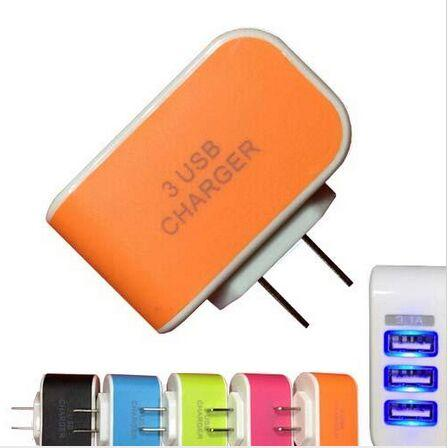 Light emitting 3 Port USB Power Adapter Charger led 5V 3.1A US EU Wall Charger Home Plug for iPhone 6 Samsung s7