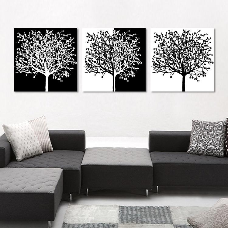 Free shipping 3 Pieces unframed Home decoration picture Canvas Prints Abstract tree Golden lotus leaf flower fish grassland mountain river