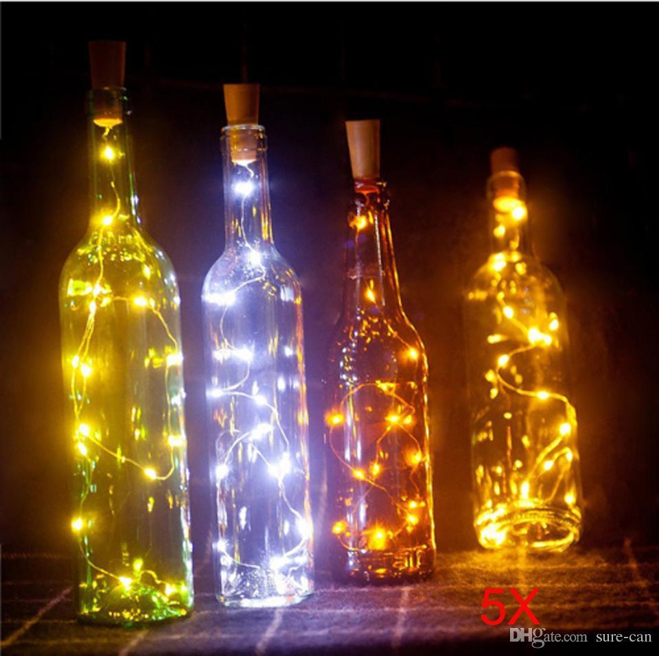 5 قطع 2 متر 20LED النبيذ زجاجة ضوء الفلين شكل بطارية الأسلاك النحاسية سلسلة الأنوار لزجاجة DIY ، عيد الميلاد ، الزفاف والديكور الطرف