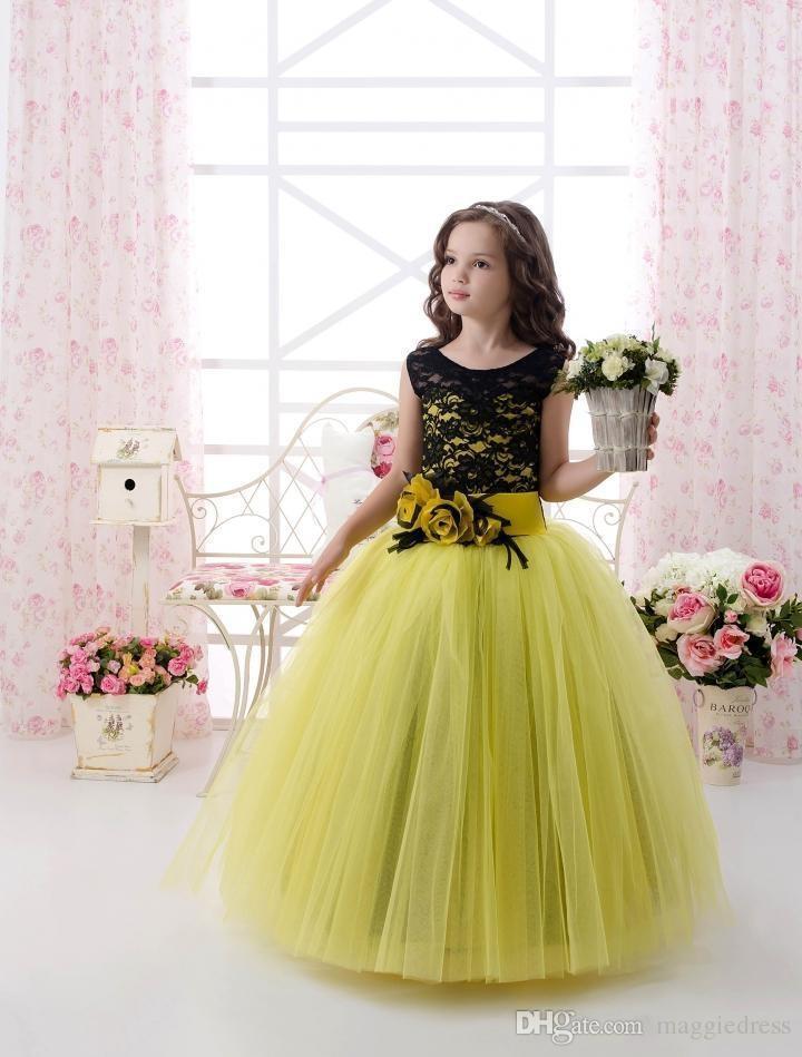 Moderno del vestido 2016 del vestido de Partido Primero Comunión vestidos sin mangas de la joya Flowerwaist largo una línea de Chicas desfile amarillo y negro muchachas de flor
