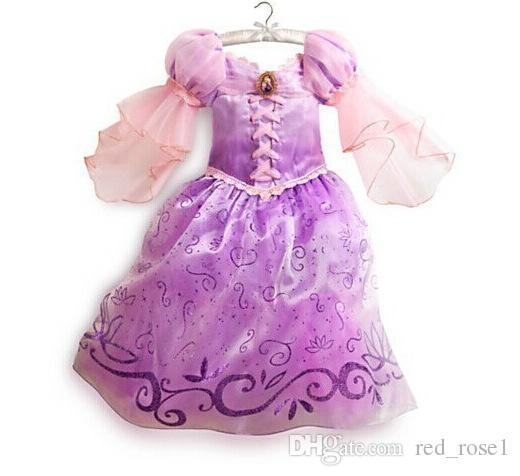 Bébé fille enfants enfants cosplay robes robes rapunzel costume princesse usure vêtements vêtements violet robe de princesse pour enfants