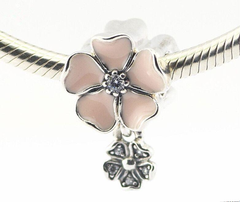 Pandora Pink Poetic Blooms esmalte encantos de la flor de plata de ley 925 cuentas sueltas para hilo pulsera fashon joyería auténtica