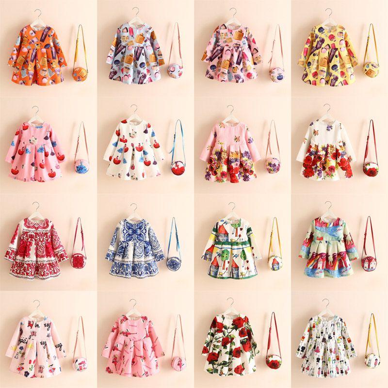16 Designs Mädchen Flora Flax Kleider Brötchen Asymmetrische Cartoon Parfüm Flasche Rosa Mädchen Unterglasur blaue Malerei gedruckt Kinder Sommer Röcke