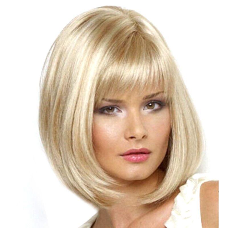 Al por mayor-Nuevo estilo de pelo Bobo 14 pulgadas corto fibra de pelo rubio Cosplay peluca para mujer natural y moda