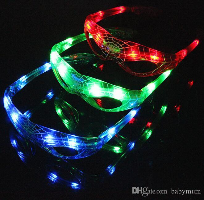 LED Spiderman Glasses Flashing Light Party Glow Mask Christmas Halloween glass baby Gift Novelty LED Glasses Led Rave Toy Party Glasses