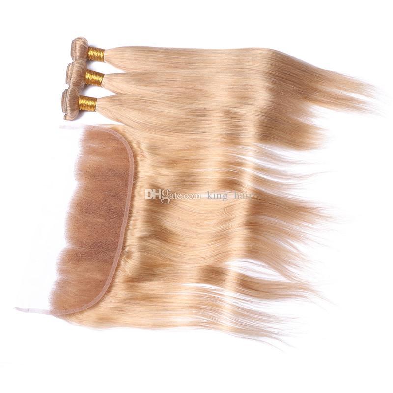 الفراولة شقراء # 27 الأذن إلى الأذن الرباط كامل الرباط الأمامي مع حزم الشعر حريري مستقيم الشعر ينسج مع المقدمات الدانتيل
