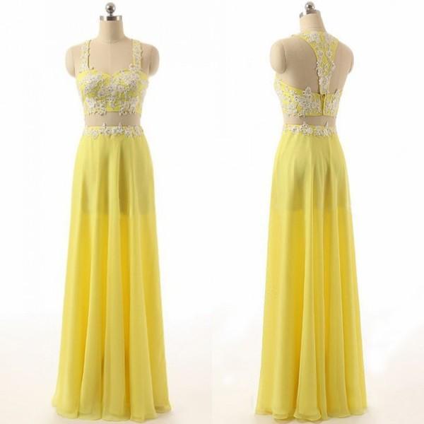 Popular Two Pieces Prom Dresses Vestidos de contas renda apliques Correias Sexy Open Back Zipper Evening Partido Up Chiffon longas formais