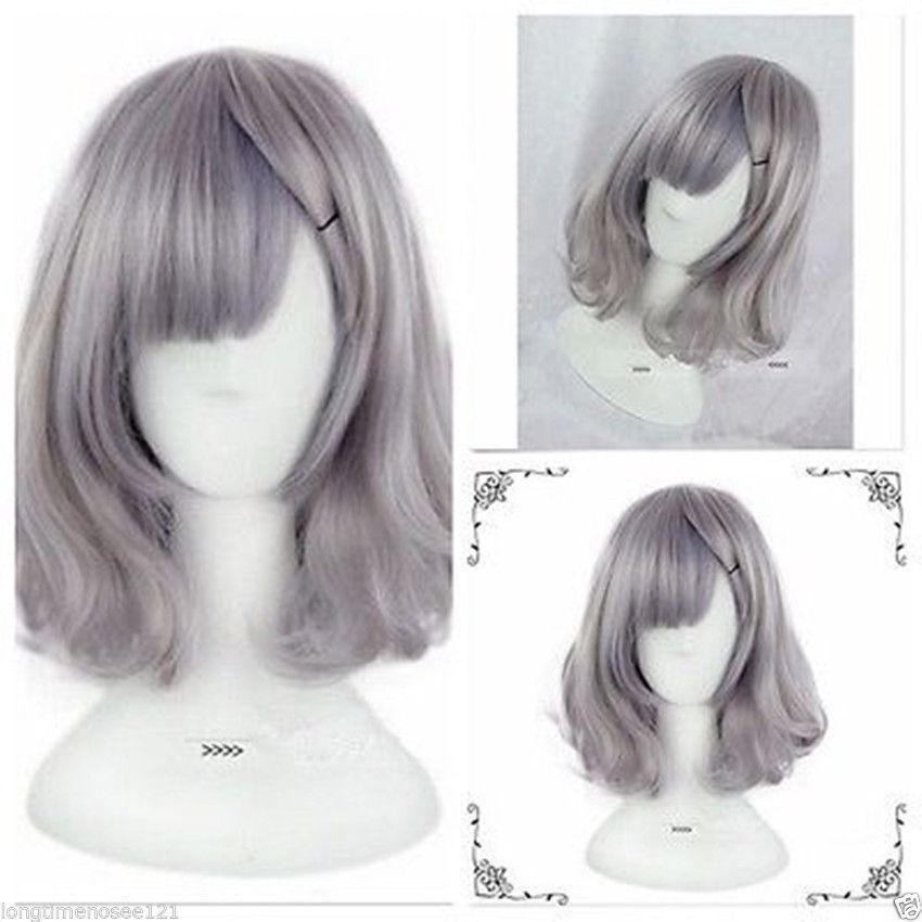 100% Brand New Haute Qualité Fashion Picture full perruques de lacetAnime Cosplay Party Grey Femmes Lady Lolita Court Frisé Ondulés Costume De Cheveux Perruques