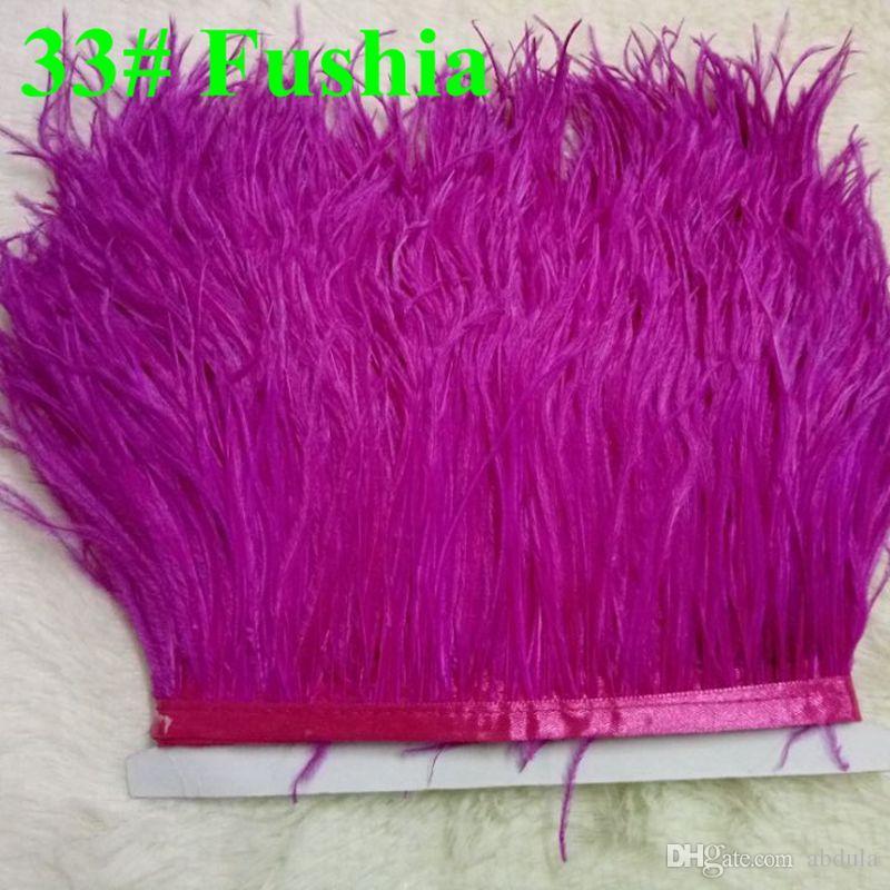 Cheap Ostrich Feather Corte na fita guarnição Ostrich Feather Fringe Fita de cetim com cetim Header Ostrich Feather Plumas Fringe para Dress