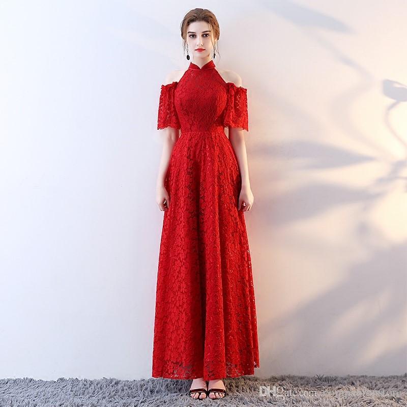 Elegant Red High Neck Zipper Stapless Short Sleeve Full Lace Long Evening Dress Prom Dresses