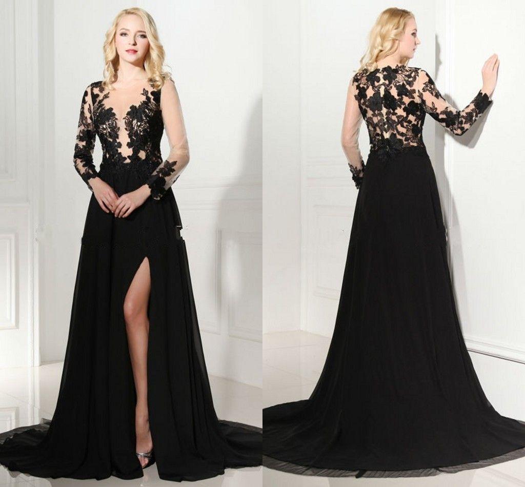 Vintage 2016 Long Sleeve Prom Dress With Front Side Split V Neck See Through Bodice Black Slit Evening Formal Dress Cocktail Party Wear Vintage Prom