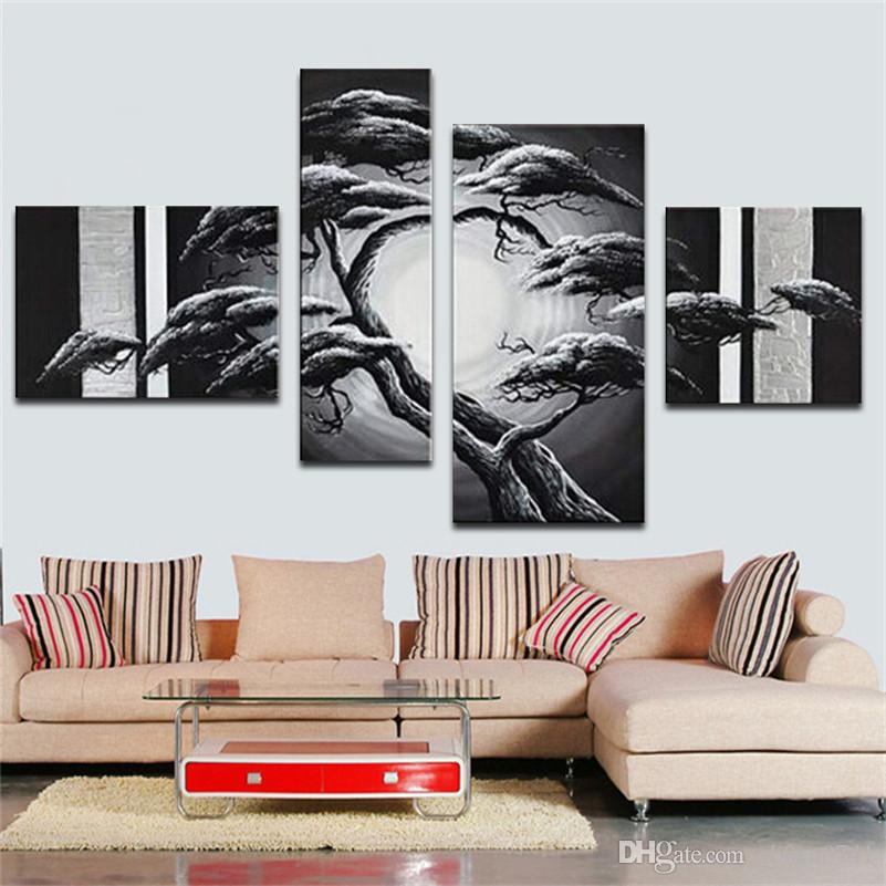 100% handgemachtes abstraktes Herbst fängt rote Hölzer hohes Q auf. Abstraktes Wand-Dekor-Ölgemälde auf Segeltuch 4 PC / Satz