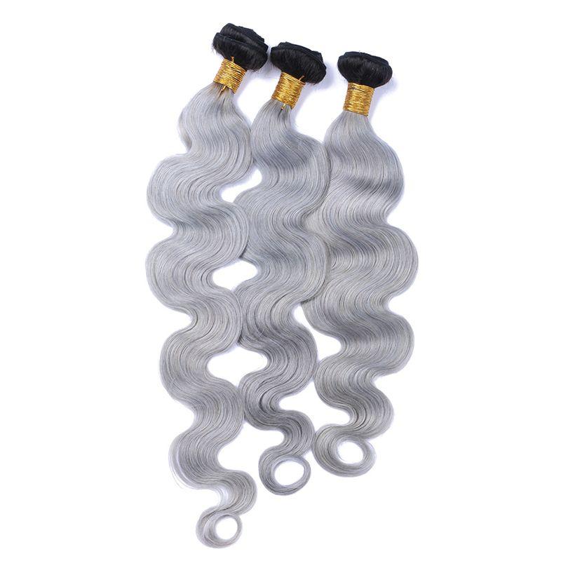 Nueva llegada de plata gris Ombre cabello humano 9A brasileña 1B gris Ombre paquetes de cabello 3pcs / lot onda del cuerpo gris plata extensión del pelo