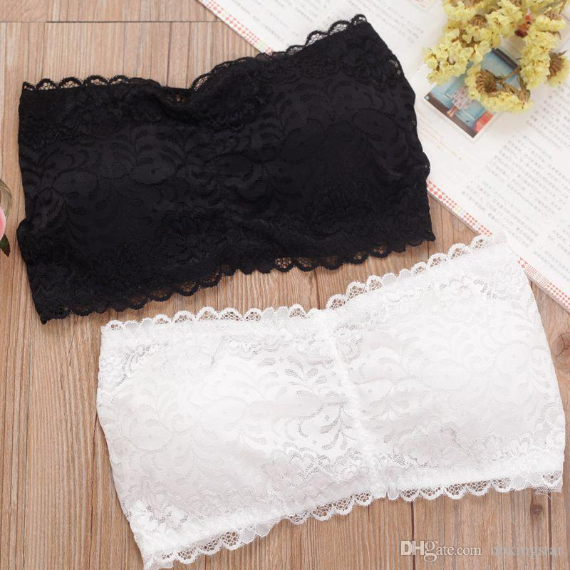 Sexy Women Strapless Padded Backless Wrapped Chest Sleevless tube Tops Bandeau Summer Underwear Lace Bralette Short Crop Tops Camis Tops