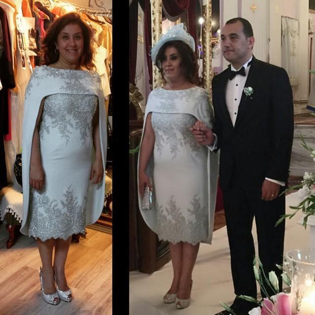 2016 Mode Argent Dentelle Applique Gaine Mère Robes avec wrap Thé Longueur Sur Mesure Plus La Taille Mère De La Robe De Mariée Robes De Soirée