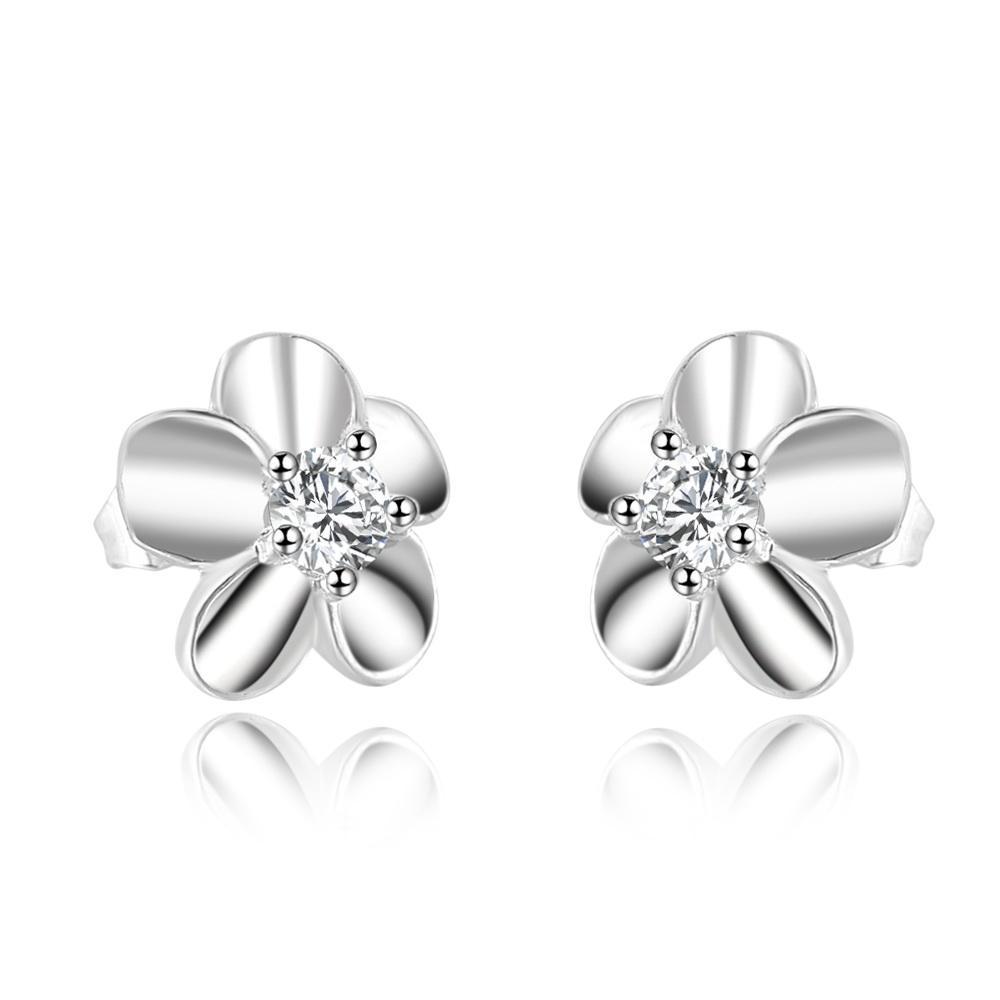 925 Sterling Silver CZ Flower Piercing Stud Pendientes para Mujeres