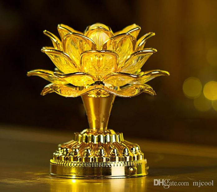 Gold Battery Buddha Music Speaker Light Flower Fancy Colorful Changing LED Lotus Flower Romantic Wedding Decoration Party Lamp AC85V-250V
