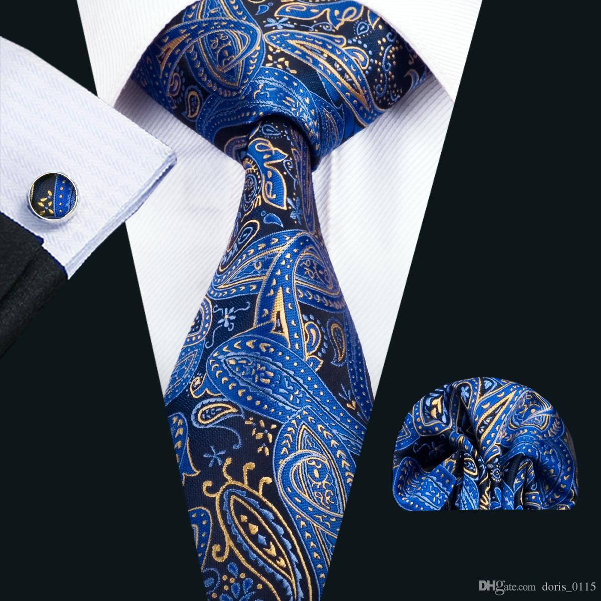 빠른 배송 실크 넥타이 클래식 실크 남성 넥타이 파란색 넥타이는 페이즐리 남성 넥타이 넥타이 손수건 세트 자카드 직물 비즈니스 파티 N-1447 설정