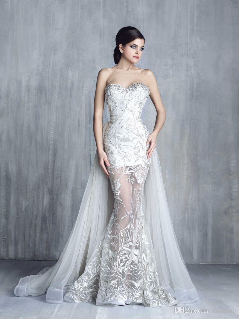 2017 Tony Chaaya Prom Dresses With Detachable Train Sweetheart ...
