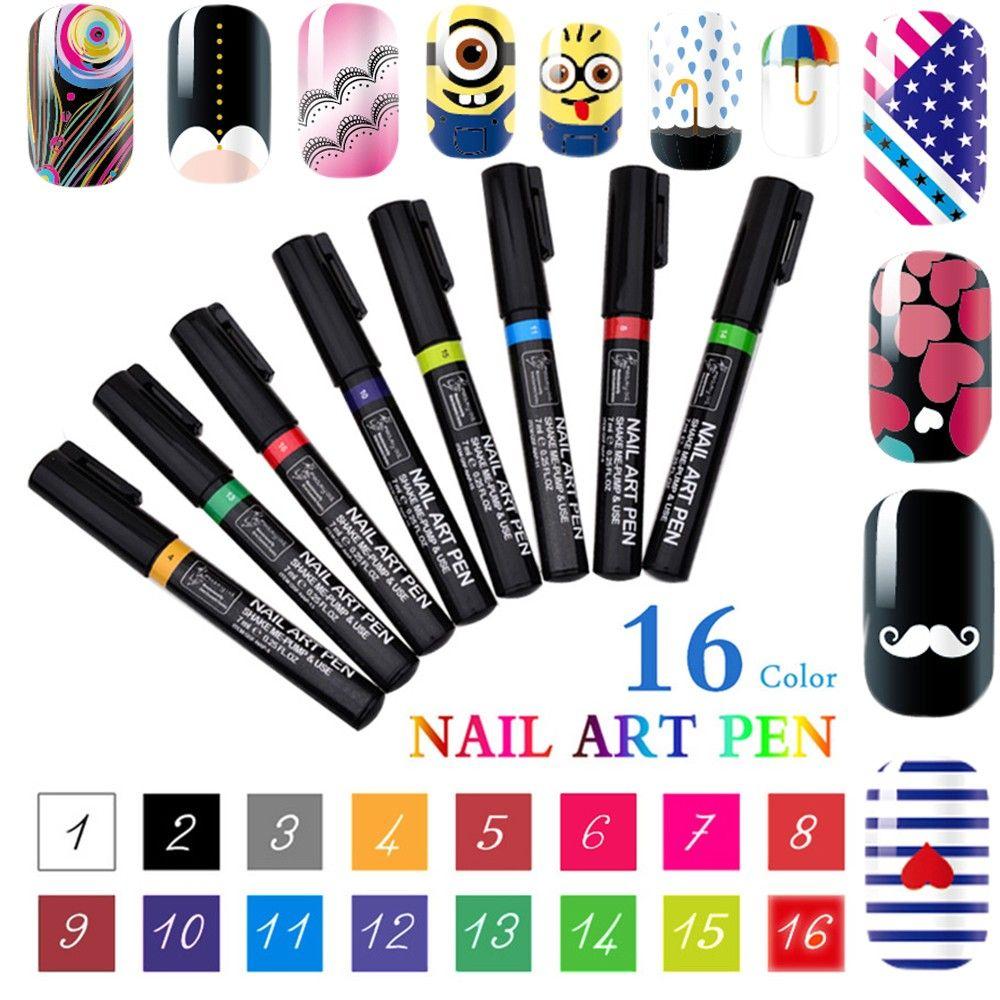 Nuova marca 3D Nail Art Pen 16 colori donne di fascino delicato abbastanza fai da te nail art nail polish penna gel uv manicure strumento spedizione gratuita