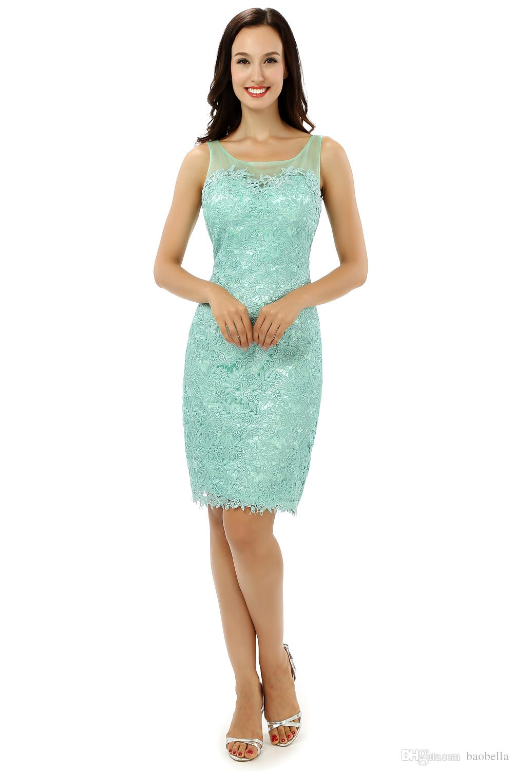 Robe de Cocktail Green Lace Imported Party Dresses Sheath Mini Cap ...