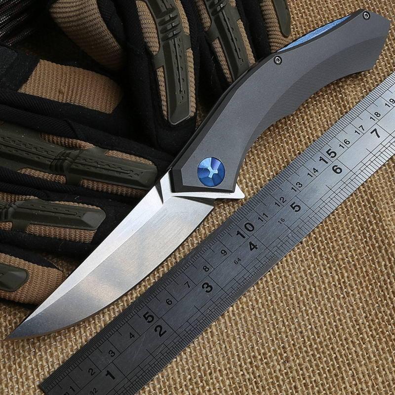 Wild boar Bear poluchetkiy Flipper tactical folding knife TC4 titanium handle D2 blade camp hunt outdoors survival pocket knives EDC tools