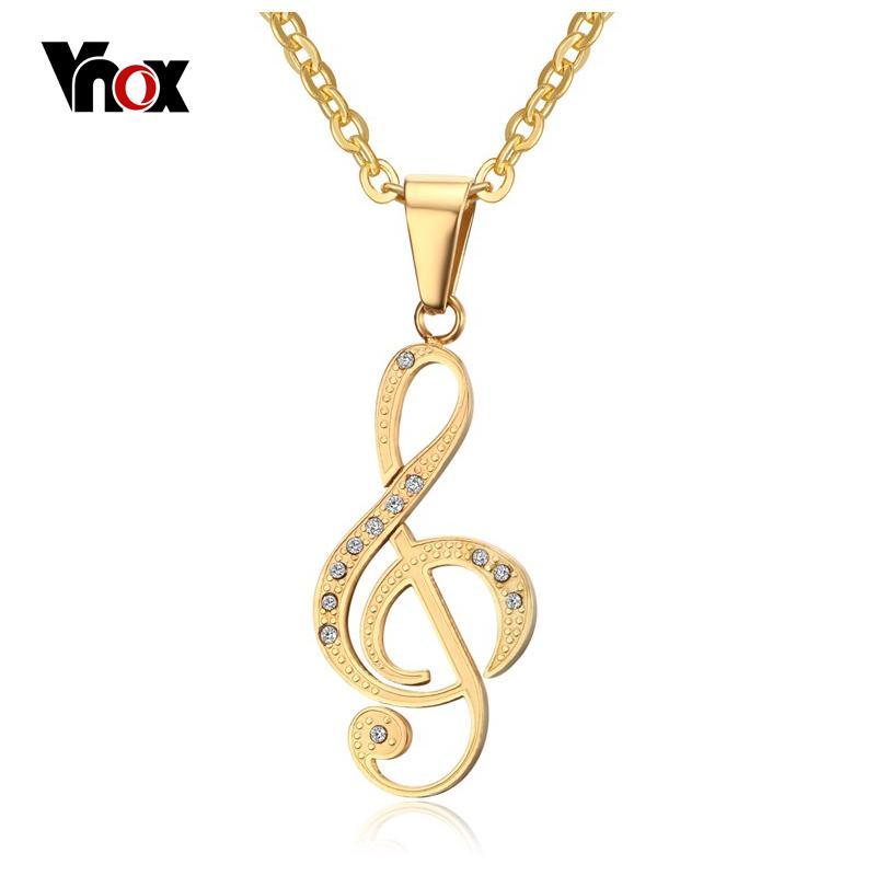 Nuova collana di pendente degli uomini della collana della nota musicale Gioielli d'oro alla moda 18K / collana di amici di pietra nera placcata CZ Catena libera 24inch