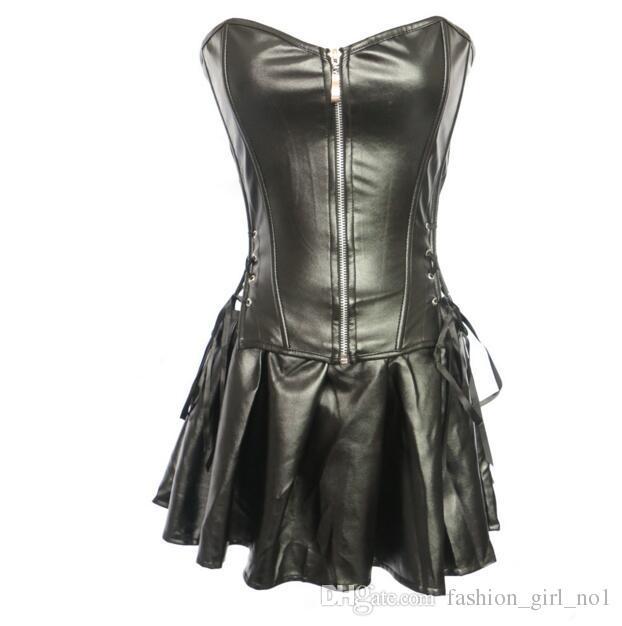 도매 Overbust 여자의 코르셋 Steampunk 섹시한 검은 가죽 Corselet 허리 트레이닝 고딕 Bustier 지퍼 바디 Shapers 란제리