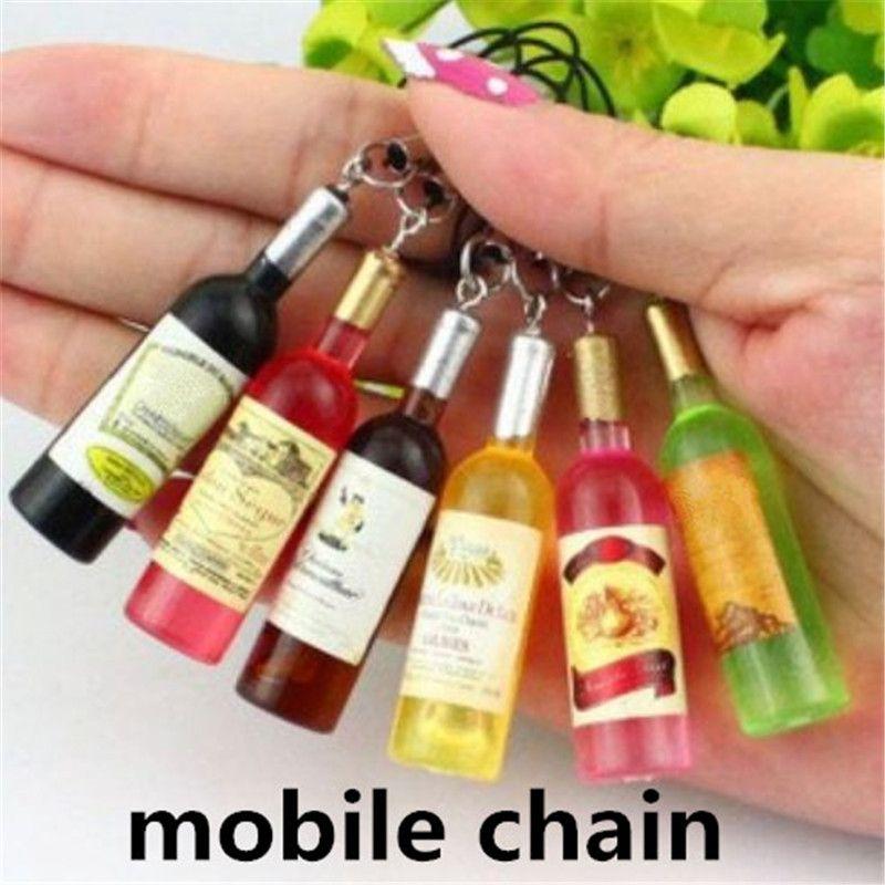 Lindo pequeño botella de vino cadenas telefónicas cadena móvil colgante llavero llavero creativa botella de cerveza móvil colgante zpg283