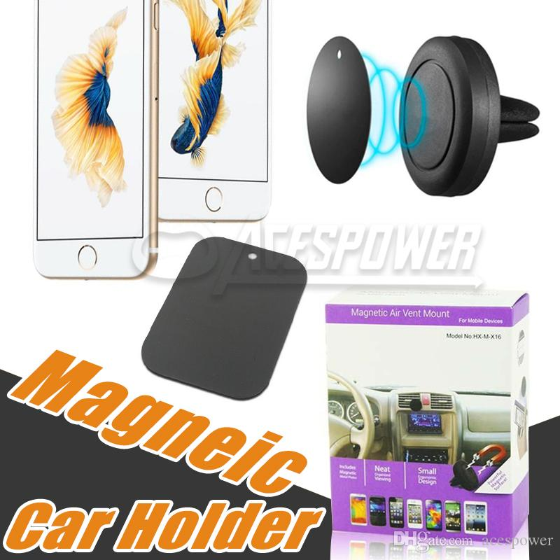 Car Mount Air Vent Magnet Universal Phone Holder para IPhone X 8 Plus Samsung Galaxy S10 Nota 10 One Step montagem Magnetic uma condução mais segura