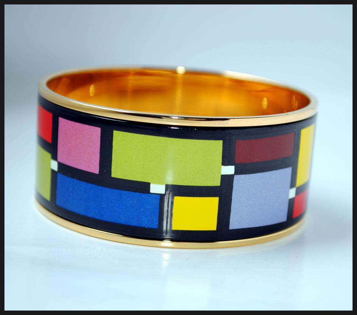 Mondrian Series 18K brazalete de esmalte chapado en oro para mujer Brazaletes de calidad superior brazaletes ancho 30mm Bisutería