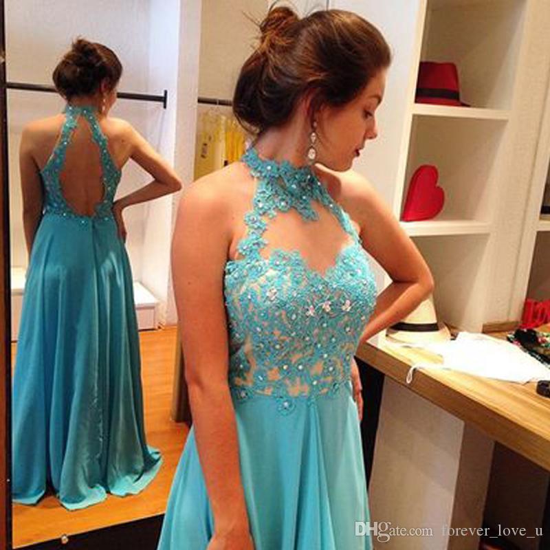 Stunning Prom Dress Long Formal Halter Neck Sleeveless Open Back Evening Gowns Light Sky Blue Chiffon Beaded Lace Appliques Formal Wear