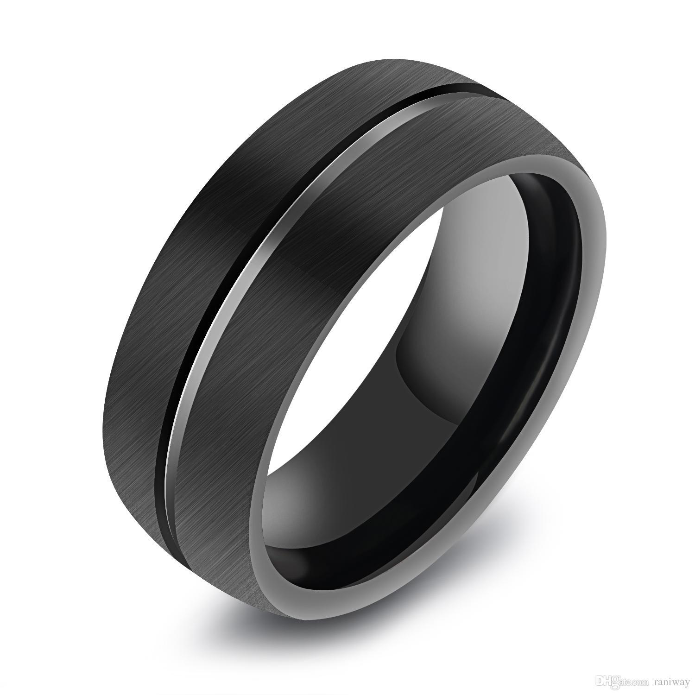 Mode Noir Hommes 8mm Classique Flat-top Brossé Centre Tungsten Acier Bague Grooved Mariage Bande de Fiançailles pour Hommes Taille 8-11
