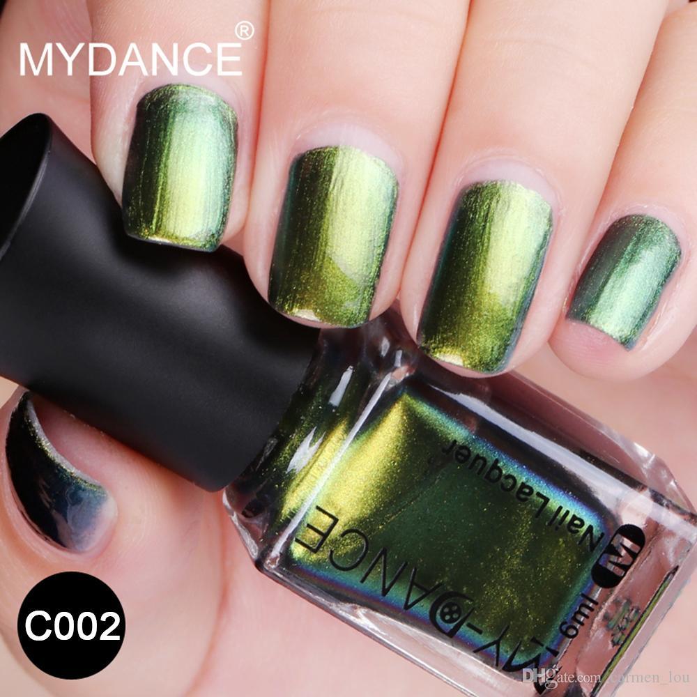 MYDANCE Starry Shining Green Nail Polish 6ml Chameleon Nail Art ...