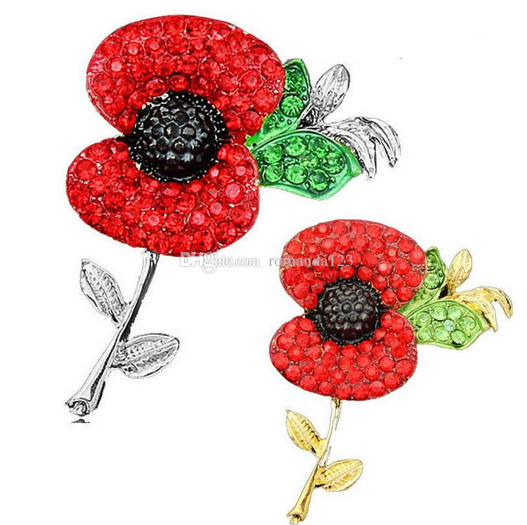 High quality Large Red Poppy Flower Brooch Pin Diamante Crystal Gold Silver Union Plated UK Remebrance Day Gift DHL free shipping