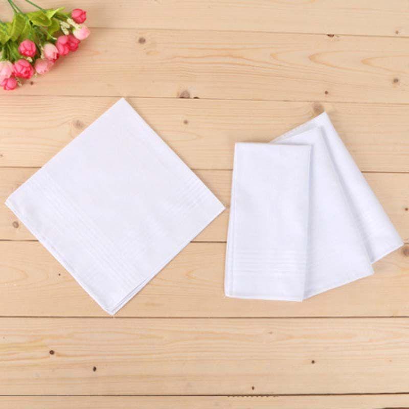 Versand Baumwolle Neue 100% Männer Whitest Towboote Taschentuch 100pcs / lot Square Satin 40 * 40cm Tisch Kostenloses Taschentuch QBJXS