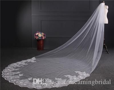 Реальные фотографии однослойные кружева свадебная фата высокого качества 4 метра длиной 1,8 м широкий кусок кружева фата