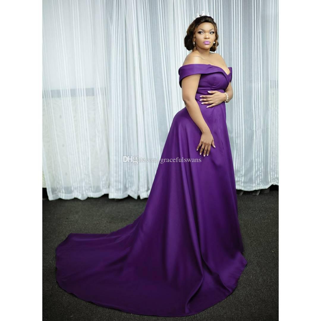 Compre Sweetheart Off The Shoulder Purple Vestidos De Noche Formales ...