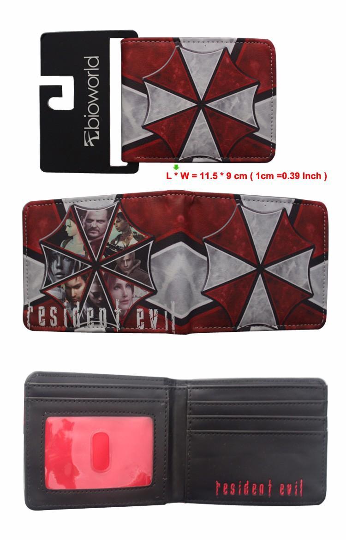 New Arrival Short Men Wallet Purses Biohazard And Umbrella Resident Evil  Wallet Leather Money Bag Clip Cards Holder Game Wallet Wholesale In