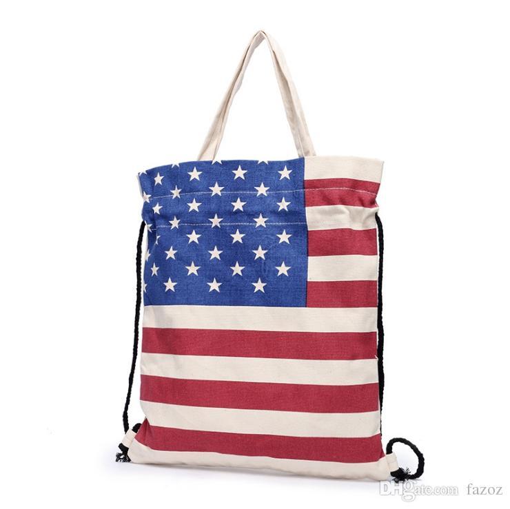 Acquista Bandiera Americana USA Bandiera Britannica Britannica Stampata  Borsa Borsa In Tela Di Cotone Puro Borse Con Coulisse Borsa Ecologica ...
