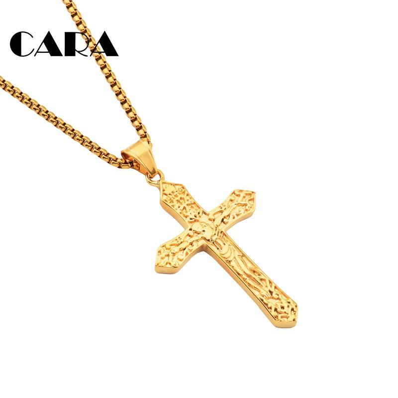CARA Yeni 316L Paslanmaz çelik Decoratice İsa Çapraz kolye Kolye Hıristiyan Çapraz kolye kolye Zincir kolye CAGF0461