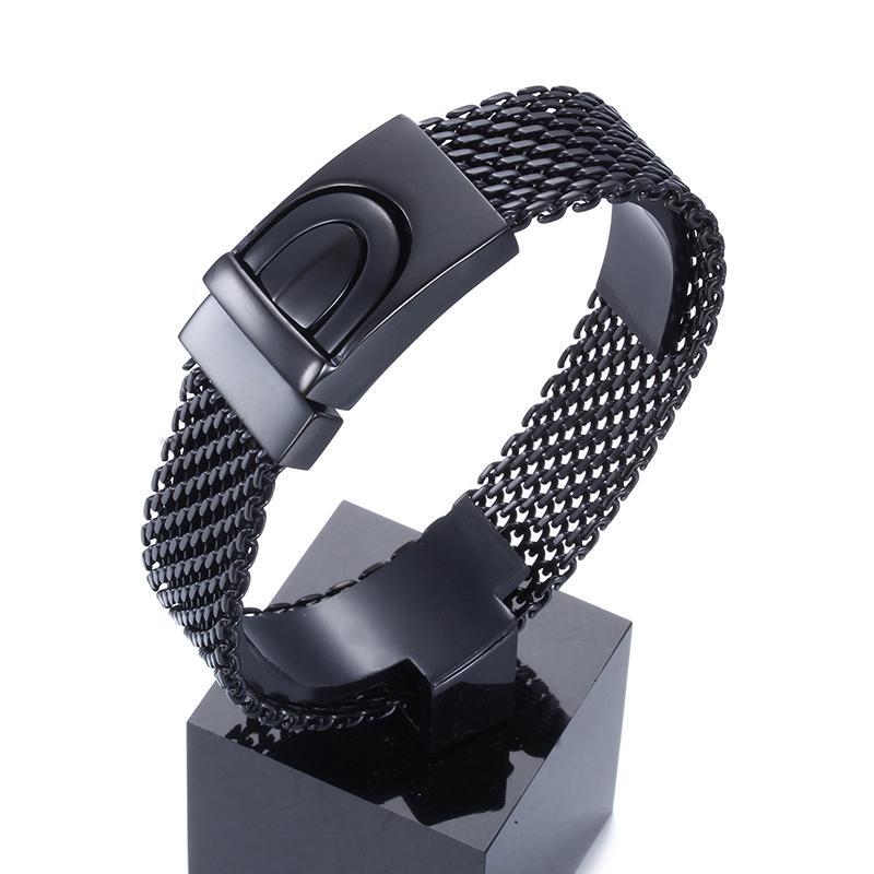 """아버지를위한 최고의 선물 블랙 바이커 벨트 디자인 팔찌 고품질 316L 스테인레스 스틸 남성 체인 팔찌 8.66 """""""